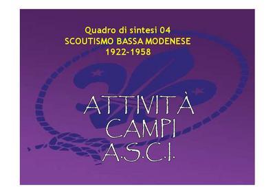 Scoutismo nella bassa modenese 1922-1958; quadro di sintesi 04 - ATTIVITA' CAMPI ASCI