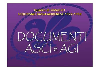 Scoutismo nella bassa modenese 1922-1958; quadro di sintesi 01 - DOCUMENTI ASCI AGI